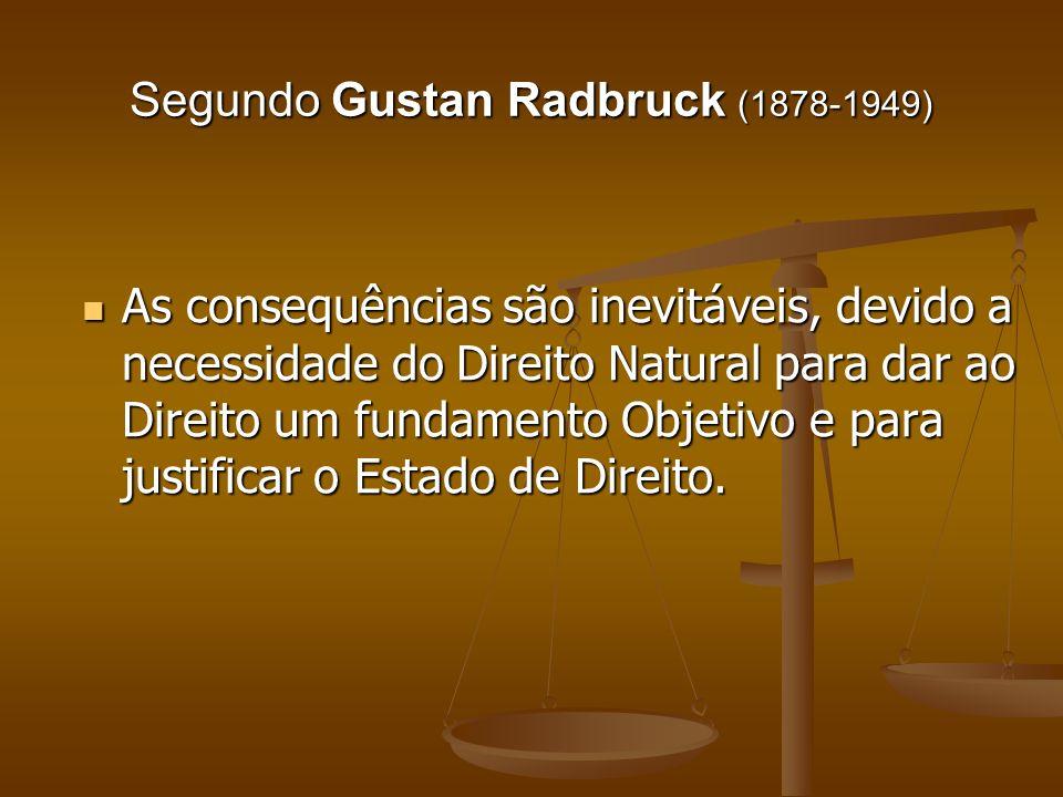 Segundo Gustan Radbruck (1878-1949) As consequências são inevitáveis, devido a necessidade do Direito Natural para dar ao Direito um fundamento Objeti