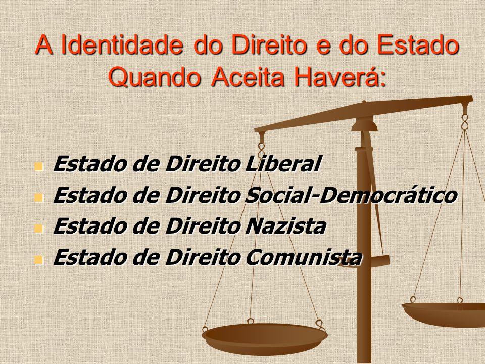 A Identidade do Direito e do Estado Quando Aceita Haverá: Estado de Direito Liberal Estado de Direito Liberal Estado de Direito Social-Democrático Est