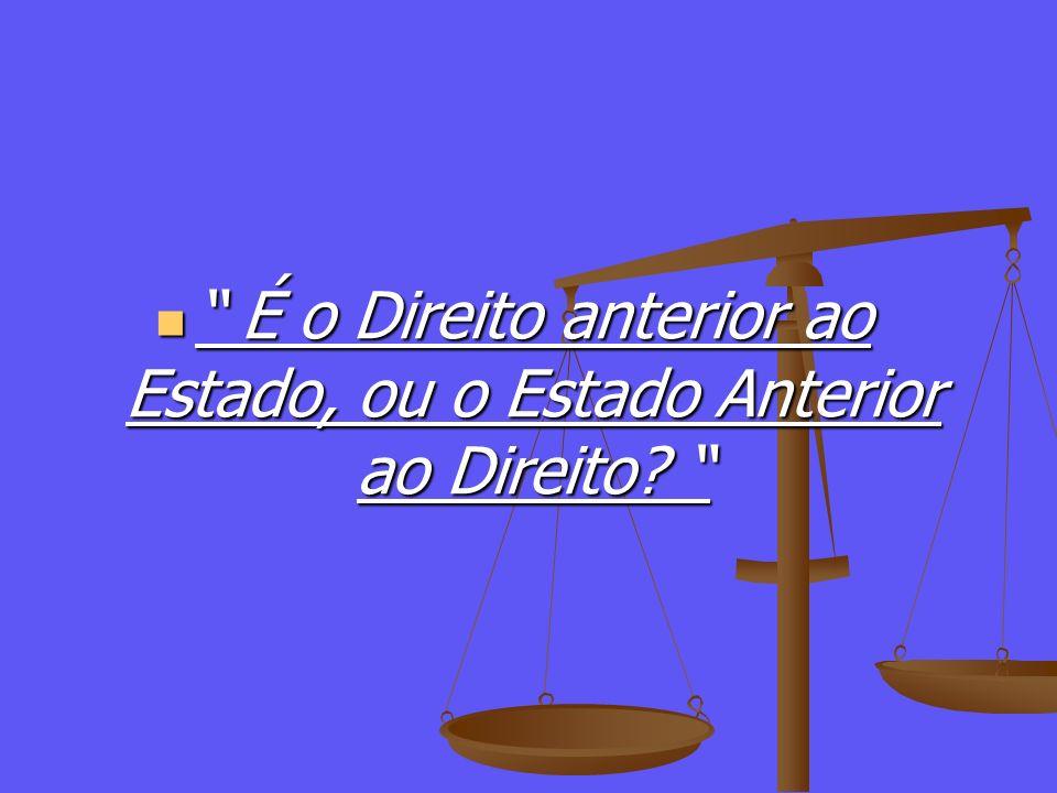 É o Direito anterior ao Estado, ou o Estado Anterior ao Direito? É o Direito anterior ao Estado, ou o Estado Anterior ao Direito?