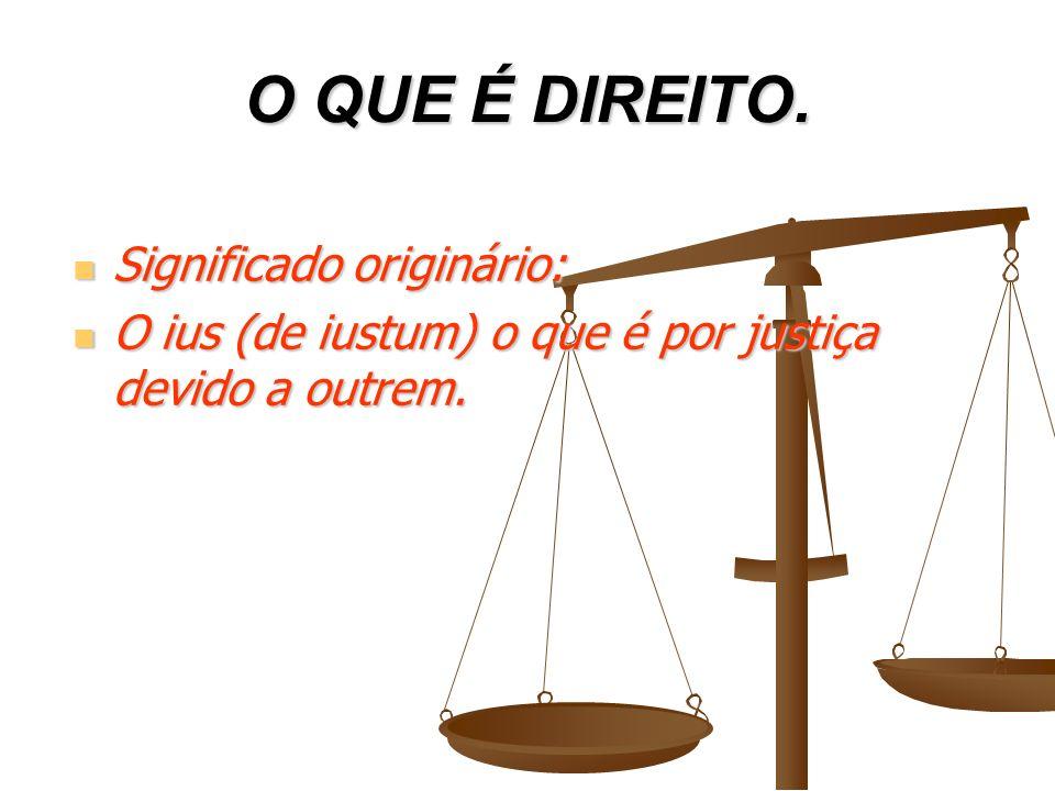 O QUE É DIREITO. Significado originário: Significado originário: O ius (de iustum) o que é por justiça devido a outrem. O ius (de iustum) o que é por