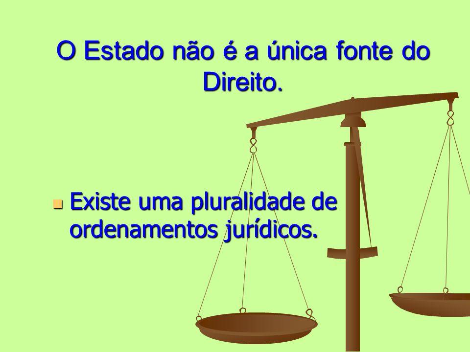O Estado não é a única fonte do Direito. Existe uma pluralidade de ordenamentos jurídicos. Existe uma pluralidade de ordenamentos jurídicos.