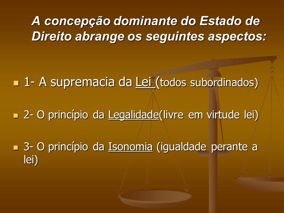 A concepção dominante do Estado de Direito abrange os seguintes aspectos: 1- A supremacia da Lei ( todos subordinados) 1- A supremacia da Lei ( todos