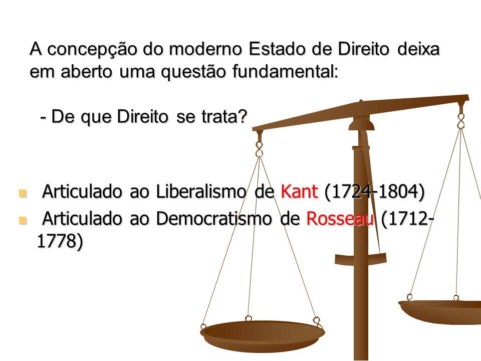 A concepção do moderno Estado de Direito deixa em aberto uma questão fundamental: - De que Direito se trata? Articulado ao Liberalismo de Kant (1724-1