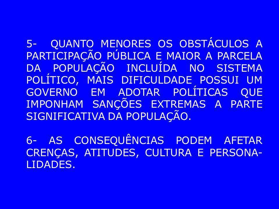 5- QUANTO MENORES OS OBSTÁCULOS A PARTICIPAÇÃO PÚBLICA E MAIOR A PARCELA DA POPULAÇÃO INCLUÍDA NO SISTEMA POLÍTICO, MAIS DIFICULDADE POSSUI UM GOVERNO