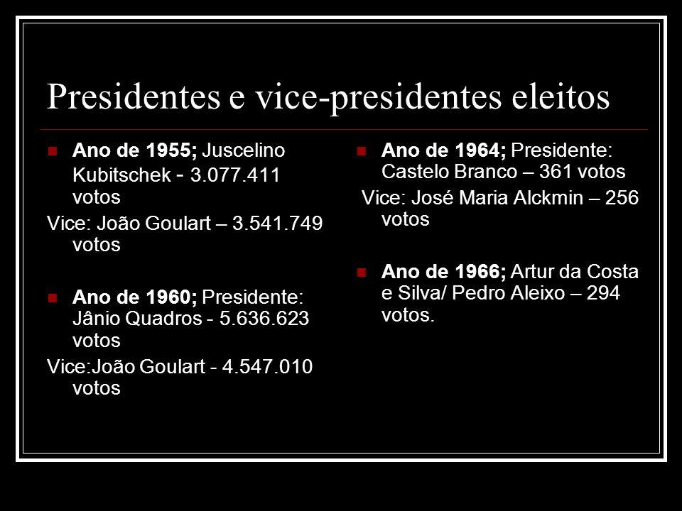 Presidentes e vice-presidentes eleitos Ano de 1955; Juscelino Kubitschek - 3.077.411 votos Vice: João Goulart – 3.541.749 votos Ano de 1960; President