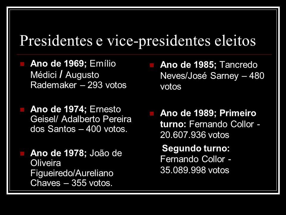 Presidentes e vice-presidentes eleitos Ano de 1969; Emílio Médici / Augusto Rademaker – 293 votos Ano de 1974; Ernesto Geisel/ Adalberto Pereira dos S