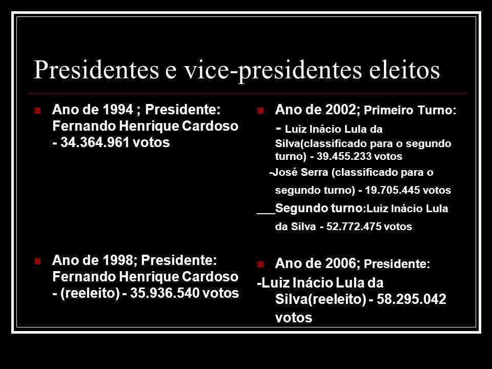 Presidentes e vice-presidentes eleitos Ano de 1994 ; Presidente: Fernando Henrique Cardoso - 34.364.961 votos Ano de 1998; Presidente: Fernando Henriq