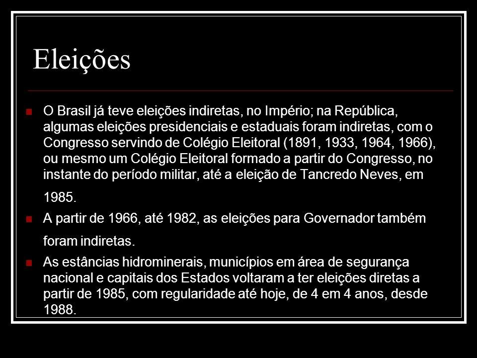 Eleições O Brasil já teve eleições indiretas, no Império; na República, algumas eleições presidenciais e estaduais foram indiretas, com o Congresso se