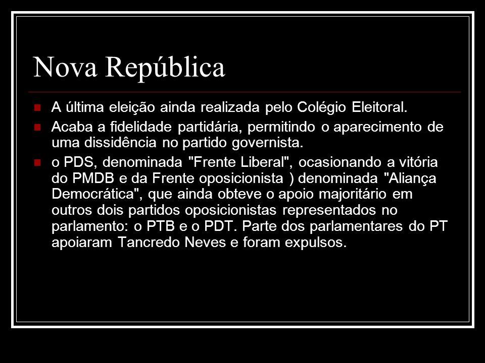 Nova República A última eleição ainda realizada pelo Colégio Eleitoral. Acaba a fidelidade partidária, permitindo o aparecimento de uma dissidência no