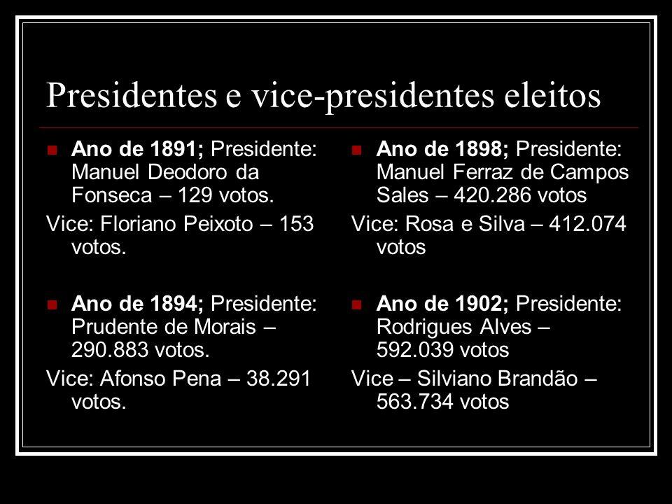 Presidentes e vice-presidentes eleitos Ano de 1891; Presidente: Manuel Deodoro da Fonseca – 129 votos. Vice: Floriano Peixoto – 153 votos. Ano de 1894