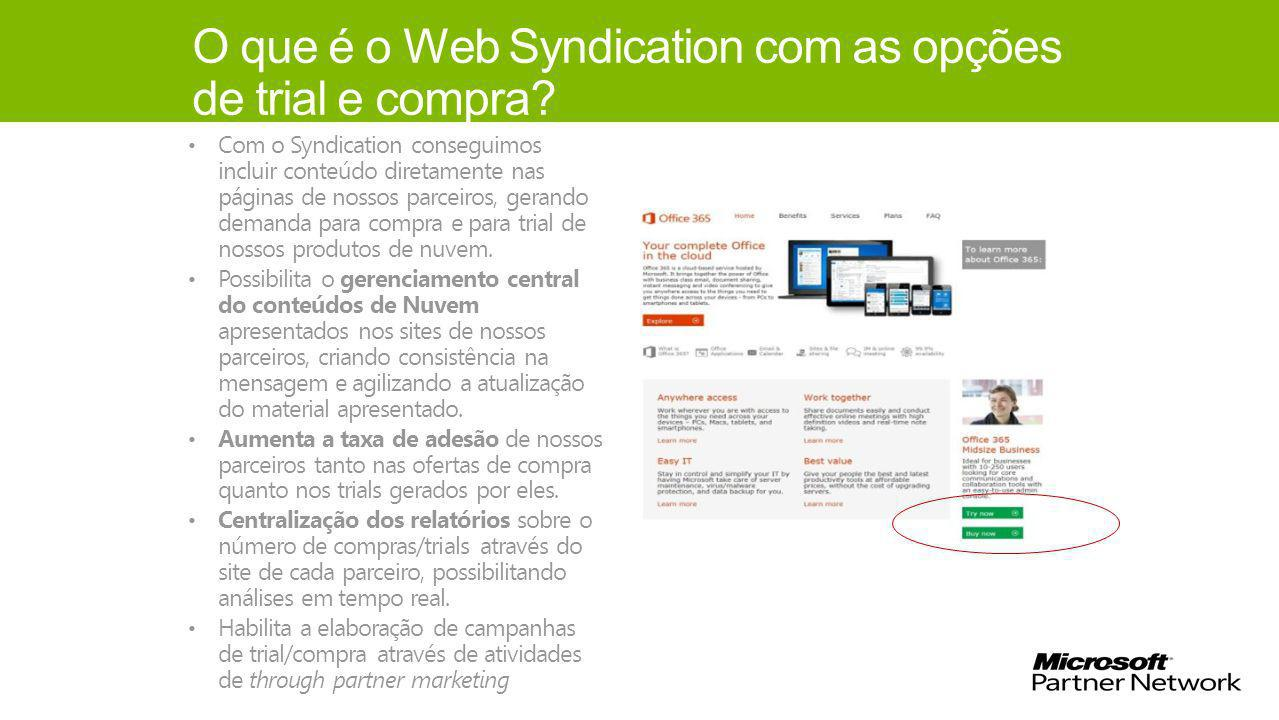 O que é o Web Syndication com as opções de trial e compra.