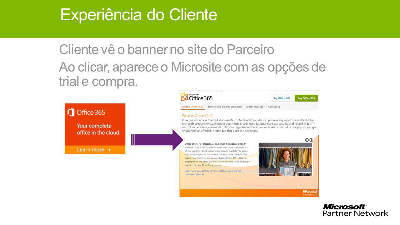 Experiência do Cliente Cliente vê o banner no site do Parceiro Ao clicar, aparece o Microsite com as opções de trial e compra.