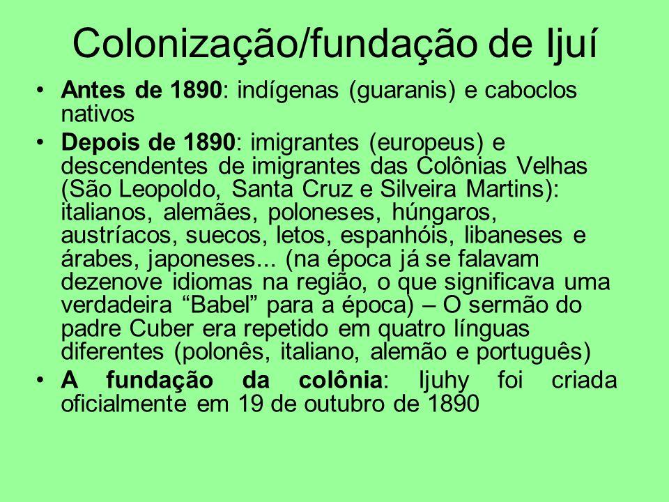 Colonização/fundação de Ijuí Antes de 1890: indígenas (guaranis) e caboclos nativos Depois de 1890: imigrantes (europeus) e descendentes de imigrantes