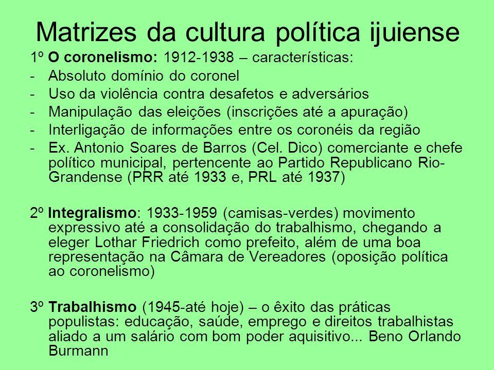 Matrizes da cultura política ijuiense 1º O coronelismo: 1912-1938 – características: -Absoluto domínio do coronel -Uso da violência contra desafetos e