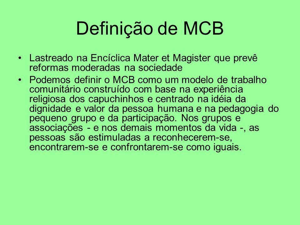 Definição de MCB Lastreado na Encíclica Mater et Magister que prevê reformas moderadas na sociedade Podemos definir o MCB como um modelo de trabalho comunitário construído com base na experiência religiosa dos capuchinhos e centrado na idéia da dignidade e valor da pessoa humana e na pedagogia do pequeno grupo e da participação.