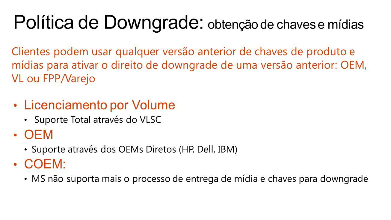 Clientes podem usar qualquer versão anterior de chaves de produto e mídias para ativar o direito de downgrade de uma versão anterior: OEM, VL ou FPP/V