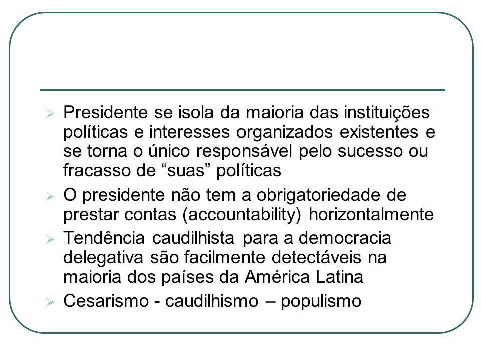 Presidente se isola da maioria das instituições políticas e interesses organizados existentes e se torna o único responsável pelo sucesso ou fracasso