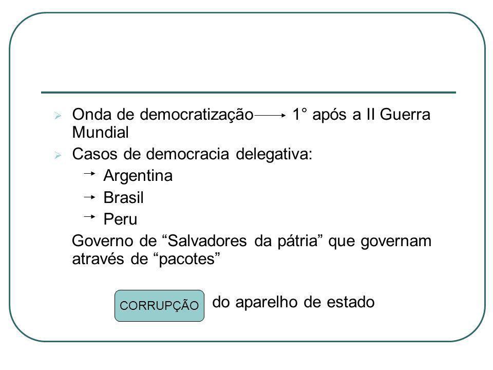 Onda de democratização 1° após a II Guerra Mundial Casos de democracia delegativa: Argentina Brasil Peru Governo de Salvadores da pátria que governam
