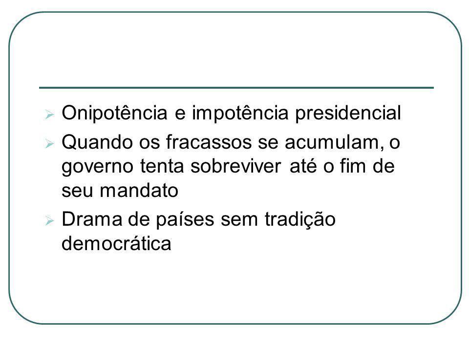 Onipotência e impotência presidencial Quando os fracassos se acumulam, o governo tenta sobreviver até o fim de seu mandato Drama de países sem tradiçã