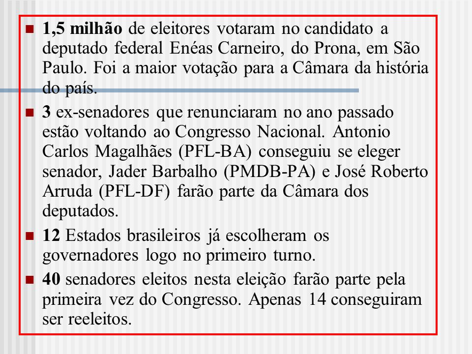 1,5 milhão de eleitores votaram no candidato a deputado federal Enéas Carneiro, do Prona, em São Paulo. Foi a maior votação para a Câmara da história