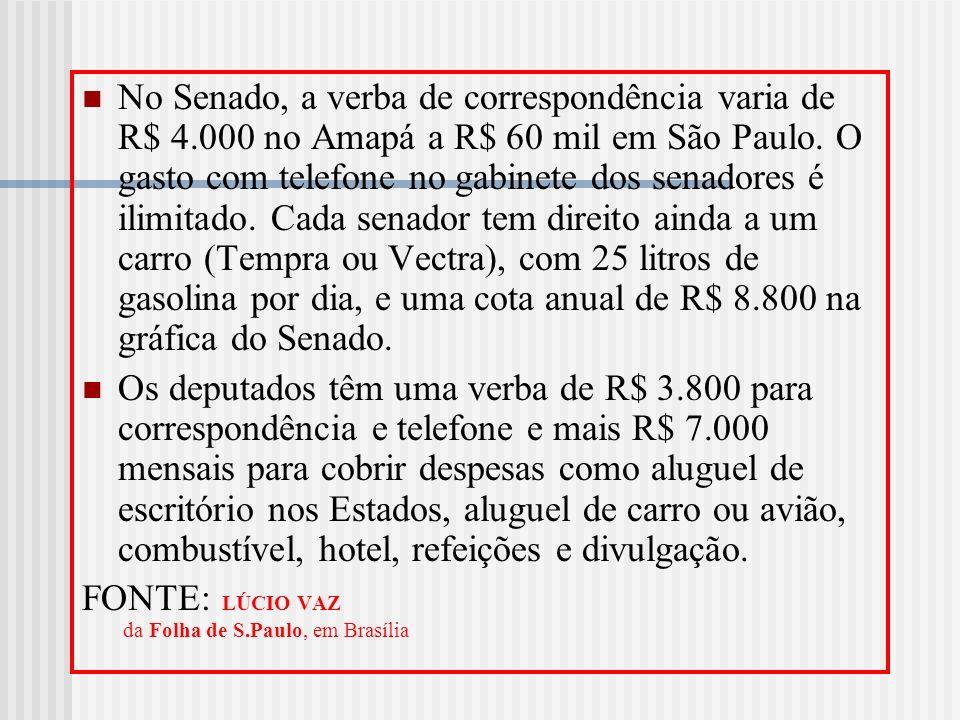 No Senado, a verba de correspondência varia de R$ 4.000 no Amapá a R$ 60 mil em São Paulo. O gasto com telefone no gabinete dos senadores é ilimitado.