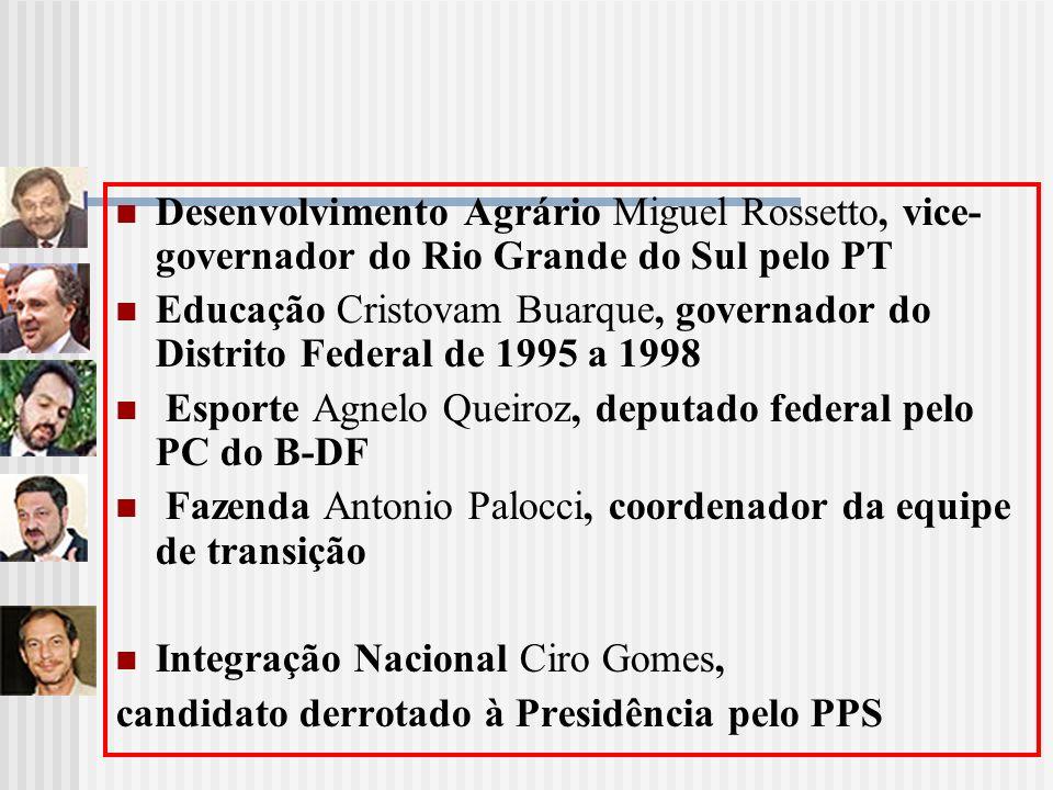 Desenvolvimento Agrário Miguel Rossetto, vice- governador do Rio Grande do Sul pelo PT Educação Cristovam Buarque, governador do Distrito Federal de 1