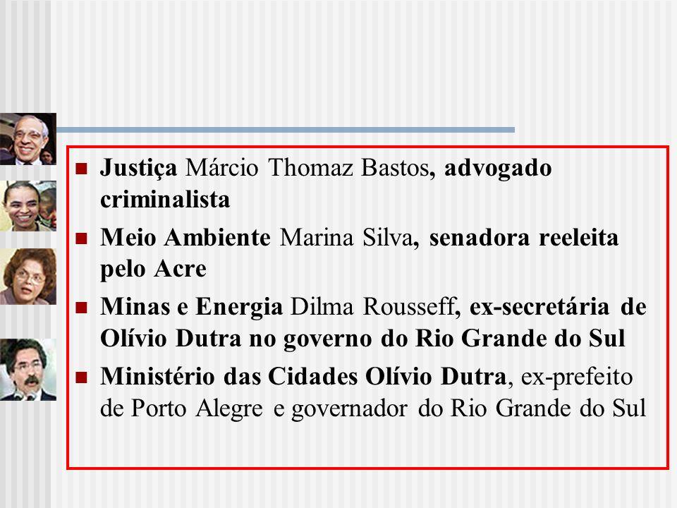 Justiça Márcio Thomaz Bastos, advogado criminalista Meio Ambiente Marina Silva, senadora reeleita pelo Acre Minas e Energia Dilma Rousseff, ex-secretá