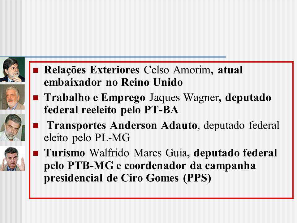 Relações Exteriores Celso Amorim, atual embaixador no Reino Unido Trabalho e Emprego Jaques Wagner, deputado federal reeleito pelo PT-BA Transportes A