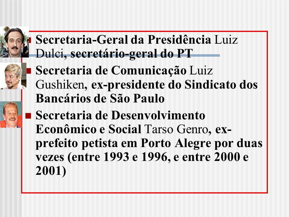 Secretaria-Geral da Presidência Luiz Dulci, secretário-geral do PT Secretaria de Comunicação Luiz Gushiken, ex-presidente do Sindicato dos Bancários d
