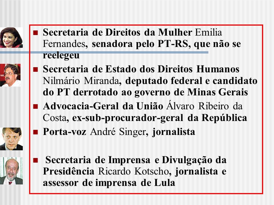 Secretaria de Direitos da Mulher Emilia Fernandes, senadora pelo PT-RS, que não se reelegeu Secretaria de Estado dos Direitos Humanos Nilmário Miranda