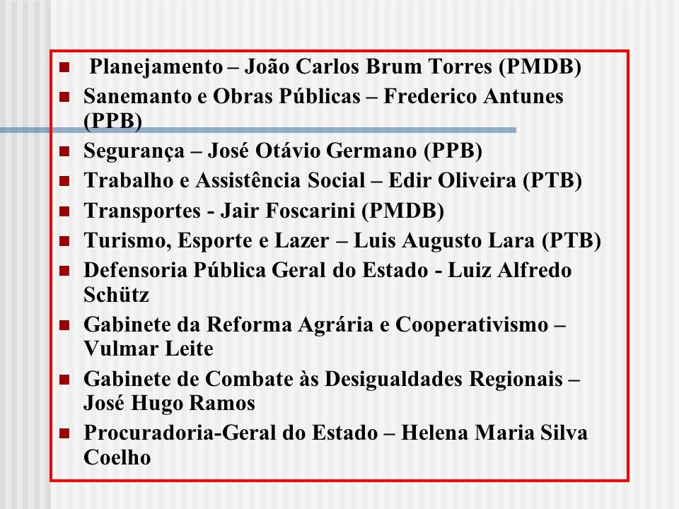 Planejamento – João Carlos Brum Torres (PMDB) Sanemanto e Obras Públicas – Frederico Antunes (PPB) Segurança – José Otávio Germano (PPB) Trabalho e As