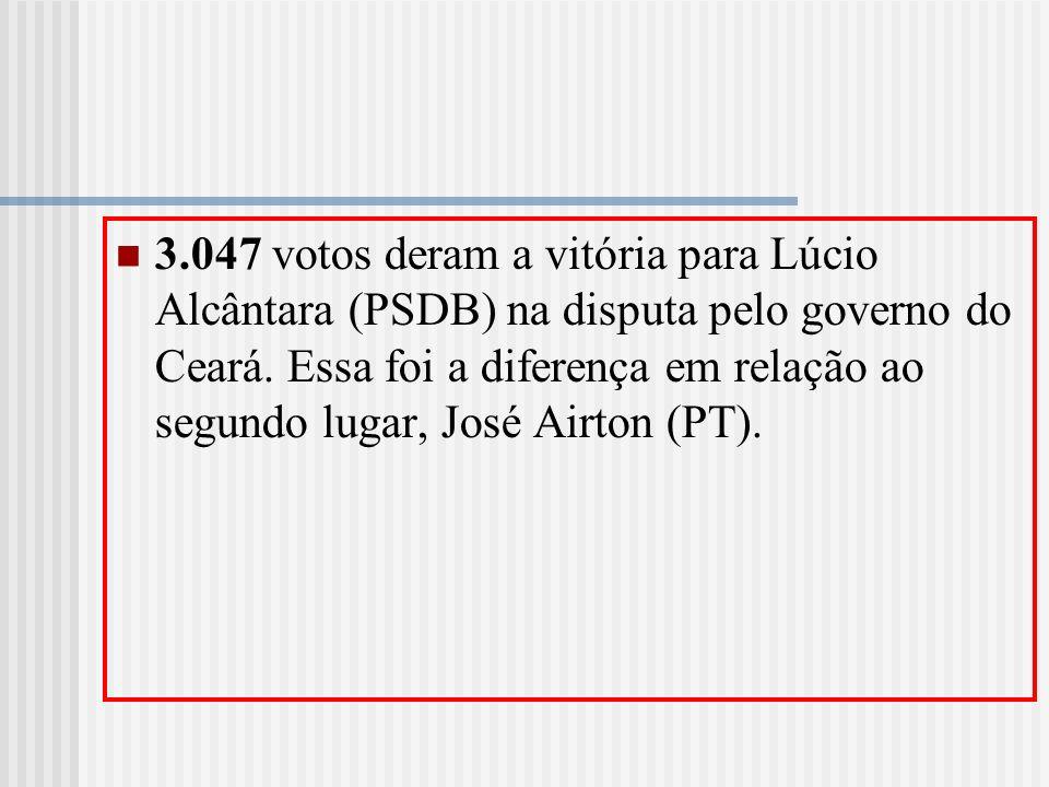 3.047 votos deram a vitória para Lúcio Alcântara (PSDB) na disputa pelo governo do Ceará. Essa foi a diferença em relação ao segundo lugar, José Airto