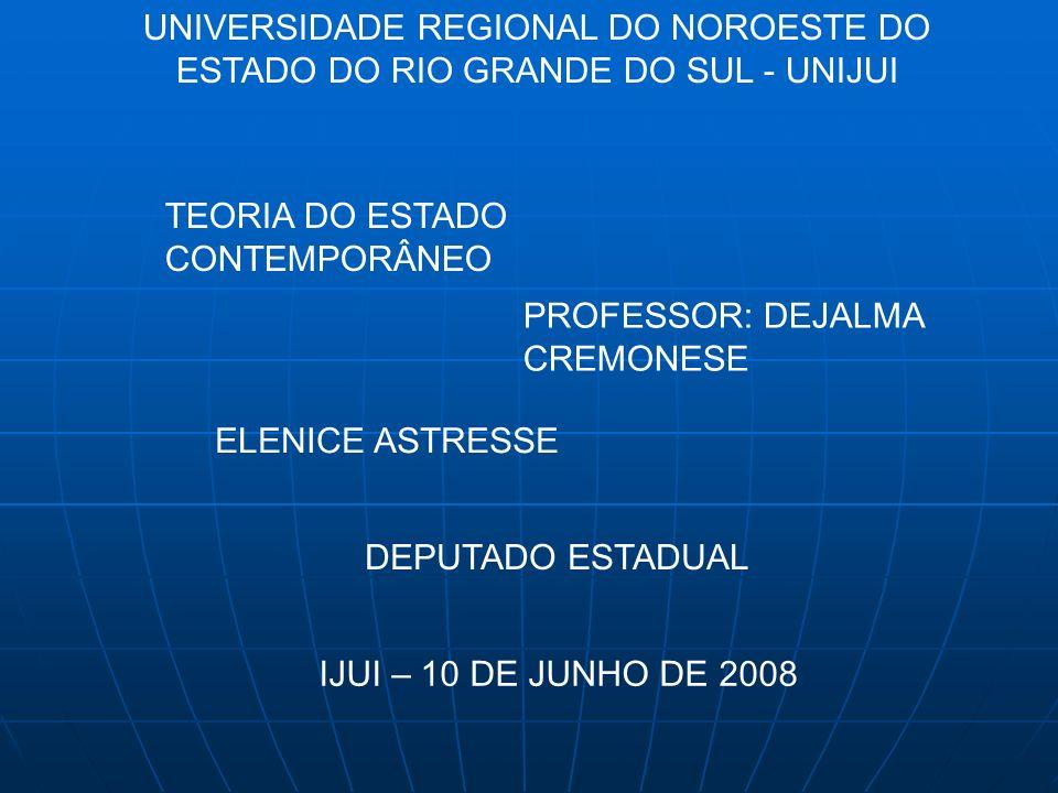 UNIVERSIDADE REGIONAL DO NOROESTE DO ESTADO DO RIO GRANDE DO SUL - UNIJUI TEORIA DO ESTADO CONTEMPORÂNEO PROFESSOR: DEJALMA CREMONESE ELENICE ASTRESSE DEPUTADO ESTADUAL IJUI – 10 DE JUNHO DE 2008