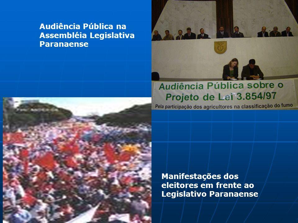 Audiência Pública na Assembléia Legislativa Paranaense Manifestações dos eleitores em frente ao Legislativo Paranaense