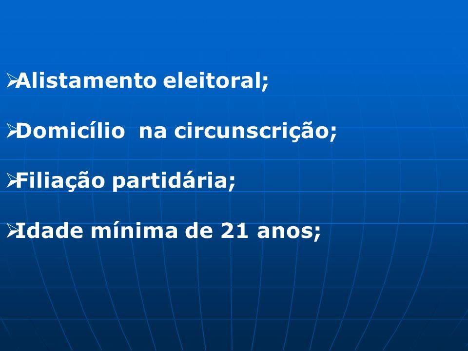 Alistamento eleitoral; Domicílio na circunscrição; Filiação partidária; Idade mínima de 21 anos;