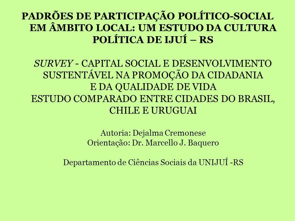 PADRÕES DE PARTICIPAÇÃO POLÍTICO-SOCIAL EM ÂMBITO LOCAL: UM ESTUDO DA CULTURA POLÍTICA DE IJUÍ – RS SURVEY - CAPITAL SOCIAL E DESENVOLVIMENTO SUSTENTÁ