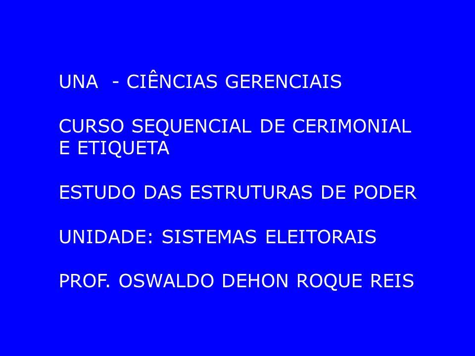 UNA - CIÊNCIAS GERENCIAIS CURSO SEQUENCIAL DE CERIMONIAL E ETIQUETA ESTUDO DAS ESTRUTURAS DE PODER UNIDADE: SISTEMAS ELEITORAIS PROF.