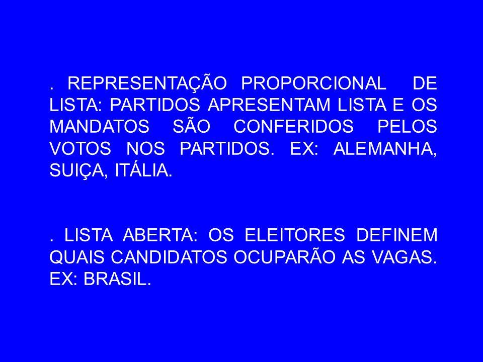 REPRESENTAÇÃO PROPORCIONAL DE LISTA: PARTIDOS APRESENTAM LISTA E OS MANDATOS SÃO CONFERIDOS PELOS VOTOS NOS PARTIDOS.
