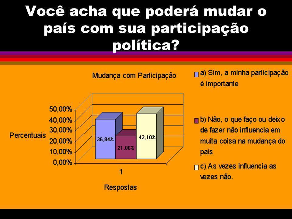 Você acha que poderá mudar o país com sua participação política?