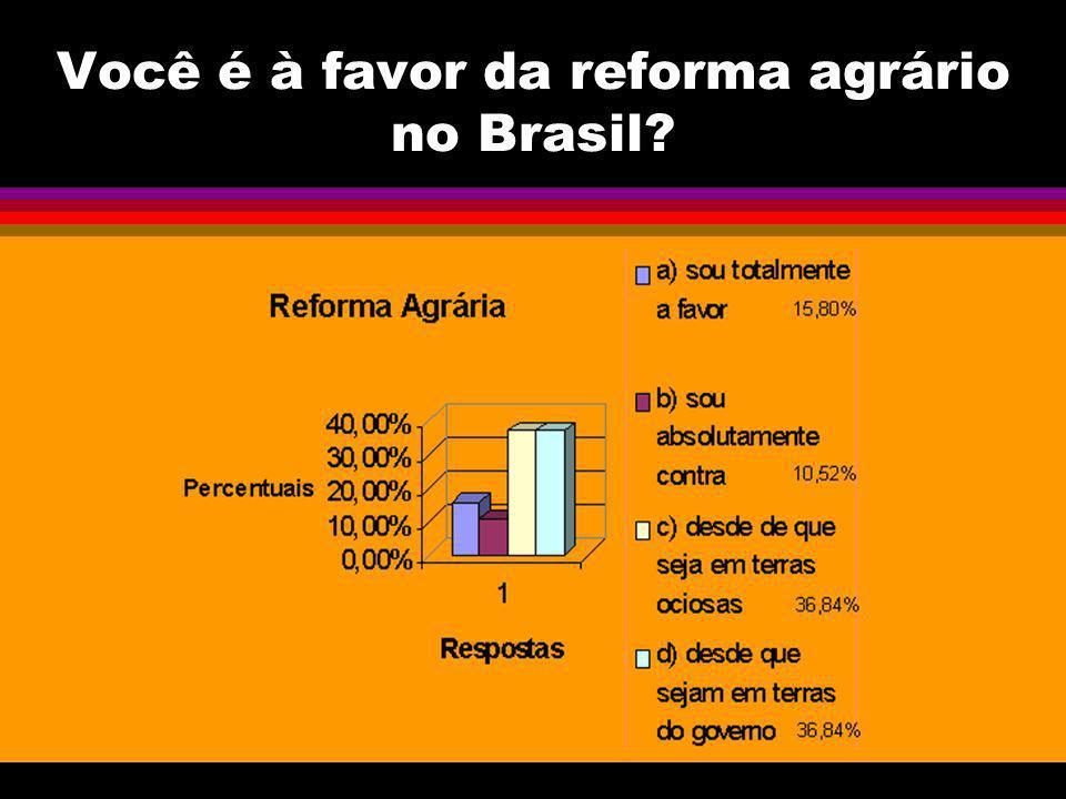 Você é à favor da reforma agrário no Brasil?