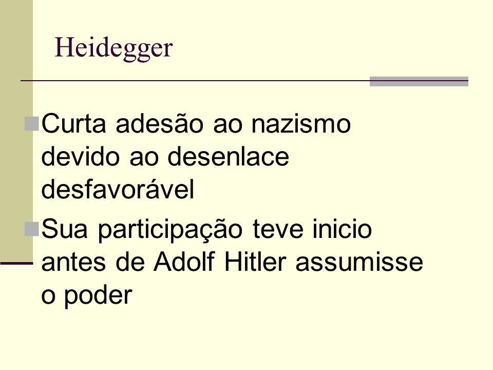 Heidegger Curta adesão ao nazismo devido ao desenlace desfavorável Sua participação teve inicio antes de Adolf Hitler assumisse o poder
