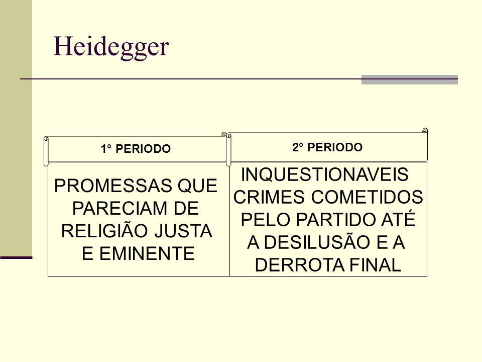 Heidegger PROMESSAS QUE PARECIAM DE RELIGIÃO JUSTA E EMINENTE INQUESTIONAVEIS CRIMES COMETIDOS PELO PARTIDO ATÉ A DESILUSÃO E A DERROTA FINAL 1° PERIODO 2° PERIODO