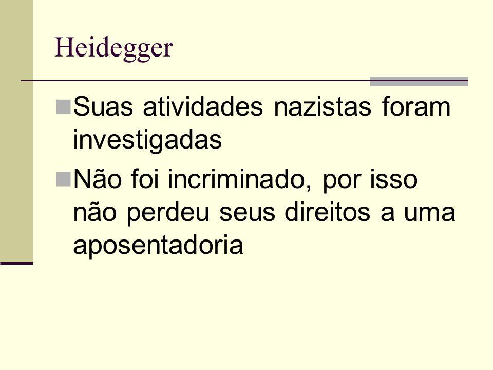 Heidegger Suas atividades nazistas foram investigadas Não foi incriminado, por isso não perdeu seus direitos a uma aposentadoria