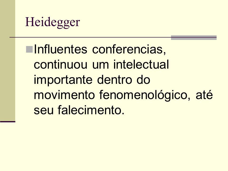Heidegger Influentes conferencias, continuou um intelectual importante dentro do movimento fenomenológico, até seu falecimento.