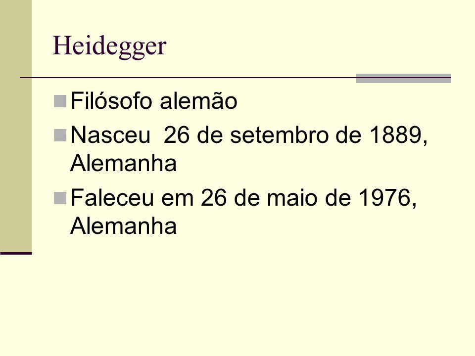 Heidegger Filósofo alemão Nasceu 26 de setembro de 1889, Alemanha Faleceu em 26 de maio de 1976, Alemanha nasceu