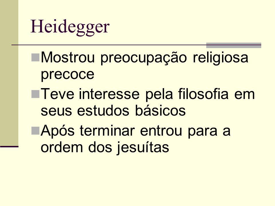 Heidegger Mostrou preocupação religiosa precoce Teve interesse pela filosofia em seus estudos básicos Após terminar entrou para a ordem dos jesuítas