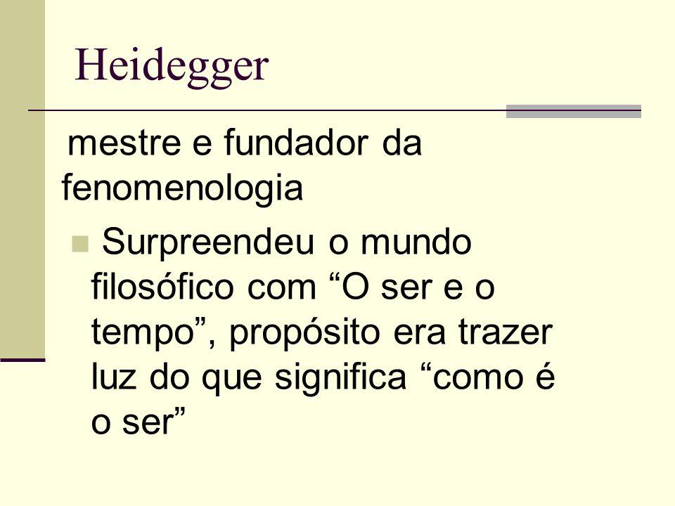 Heidegger mestre e fundador da fenomenologia Surpreendeu o mundo filosófico com O ser e o tempo, propósito era trazer luz do que significa como é o ser