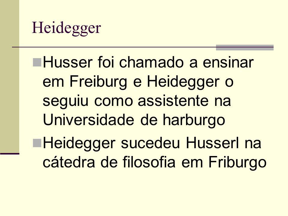 Heidegger Husser foi chamado a ensinar em Freiburg e Heidegger o seguiu como assistente na Universidade de harburgo Heidegger sucedeu Husserl na cátedra de filosofia em Friburgo