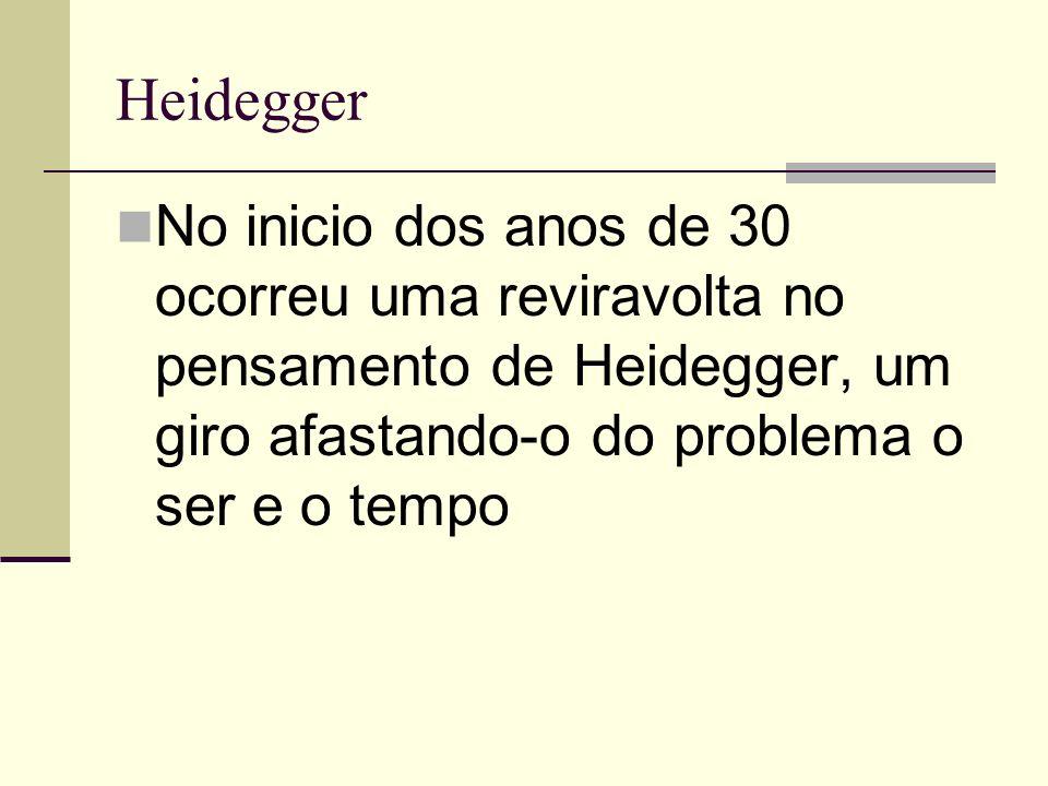 Heidegger No inicio dos anos de 30 ocorreu uma reviravolta no pensamento de Heidegger, um giro afastando-o do problema o ser e o tempo