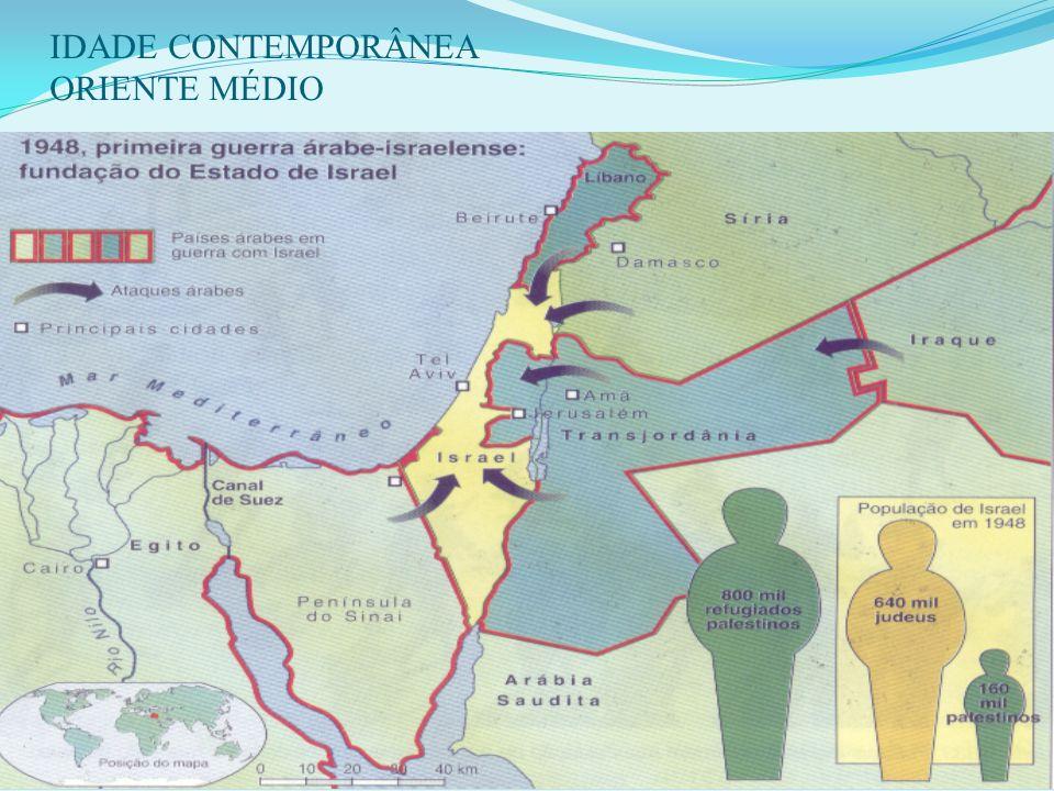 5 - A GUERRA DE INDEPENDÊNCIA (1948): Após a criação do Estado de Israel: EGT + SIR + LIB + IRQ + JOR (Liga árabe) X ISR desunião das tropas árabes. a